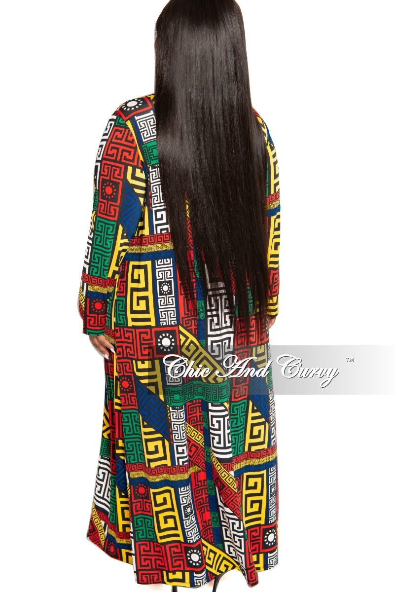 New Plus Size 2-Piece Duster and Pants Set in Red Green White Yellow Royal Blue and Black Maze Print