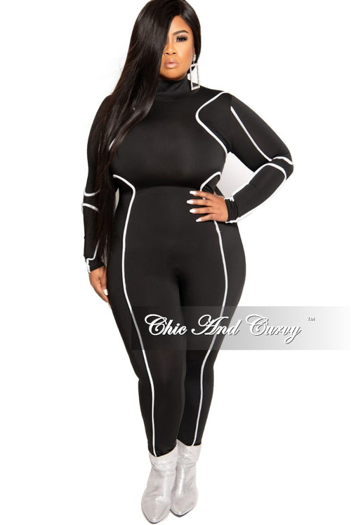 New Plus Size Mock Neck Jumpsuit in Black with White Trim