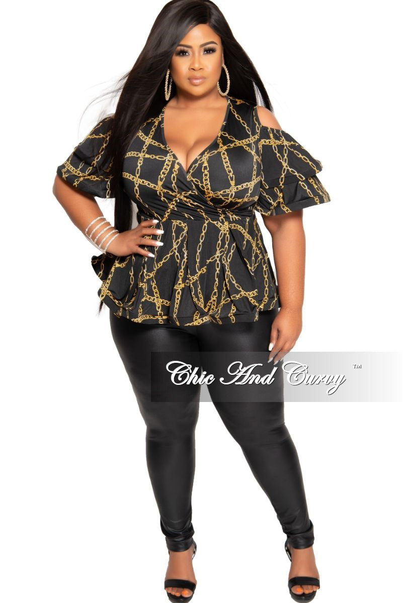 New Plus Size Cold Shoulder Faux Wrap Peplum Top in Black and Gold Chain Print