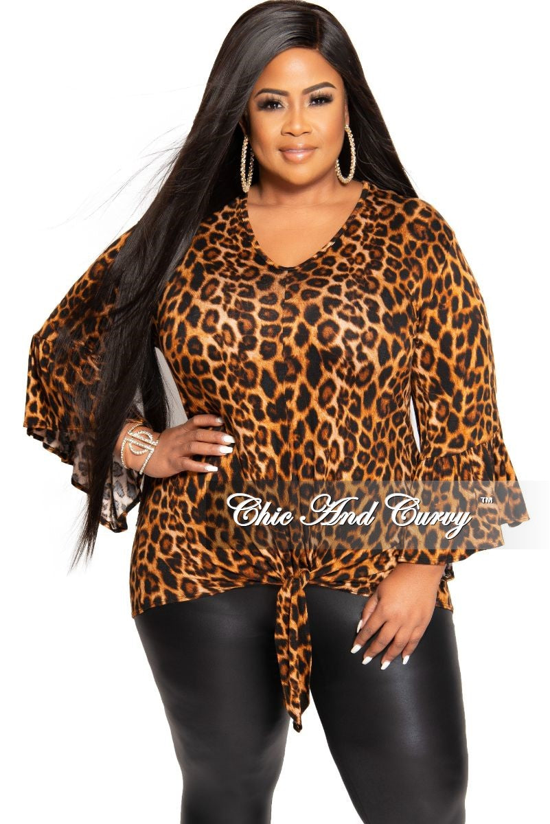 New Plus Size Bell Sleeve Tie Top in Animal Print