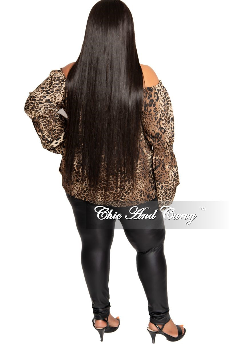 New Plus Size Off the Shoulder Ruffle Sleeve Blouse in Animal Print