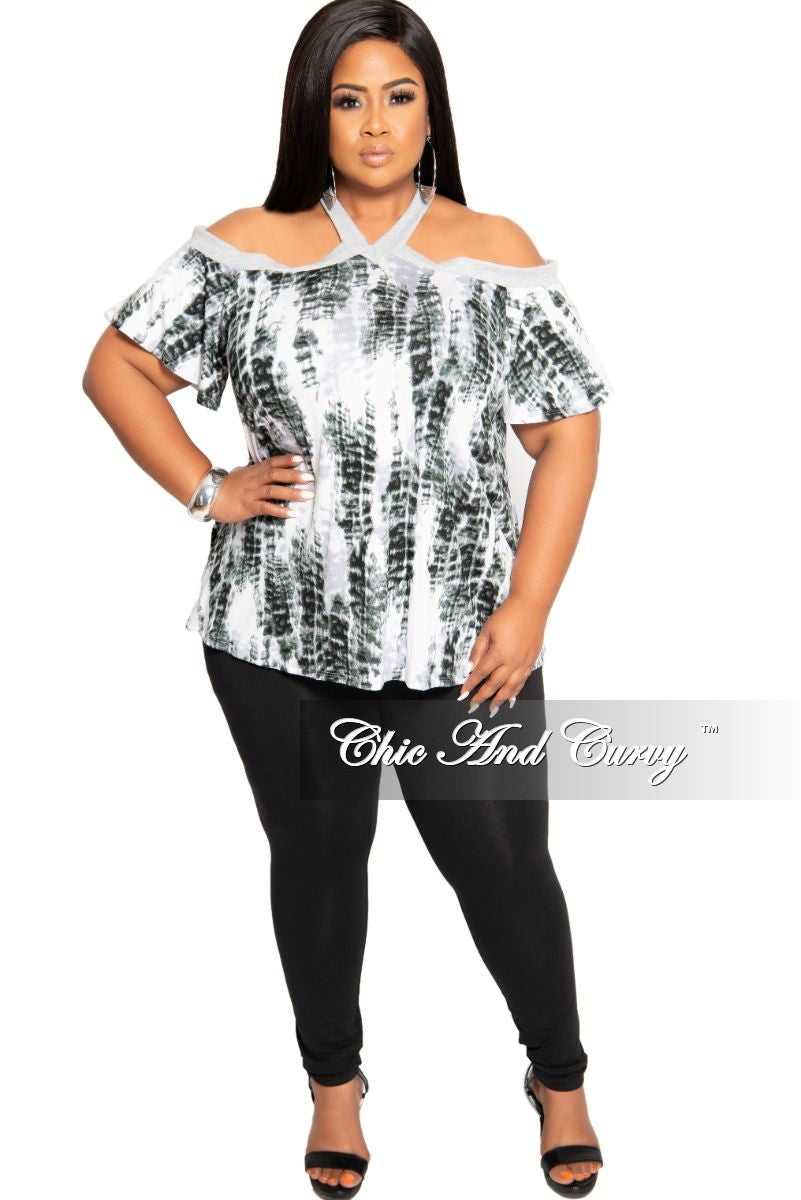 New Plus Size Cold Shoulder Top in Grey Tie Dye