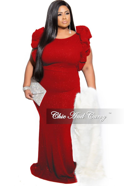 Final Sale Plus Size Glitter Gown with Ruffle Sleeves in Red