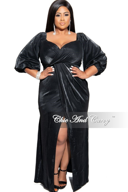Final Sale Plus Size Gown with Faux Wrap Open-Front in Black