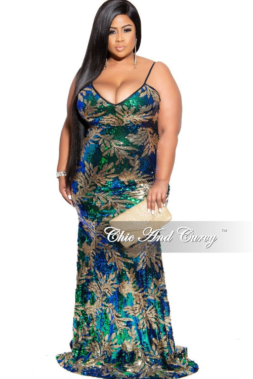 Final Sale Plus Size Sequin Spaghetti Strap Mermaid Gown in Green & Blue Iridescent and Gold Leaf Print