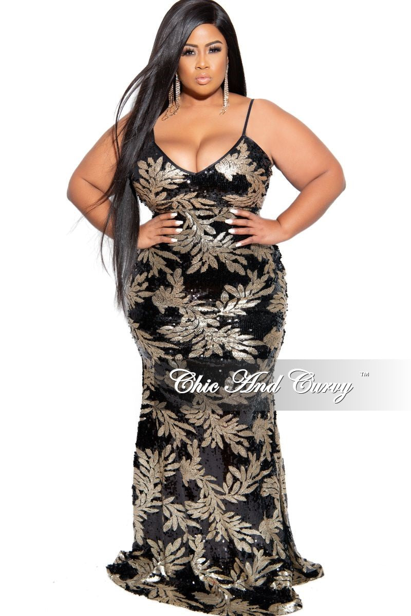 Final Sale Plus Size Sequin Spaghetti Strap Mermaid Gown in Black and Gold Leaf Print