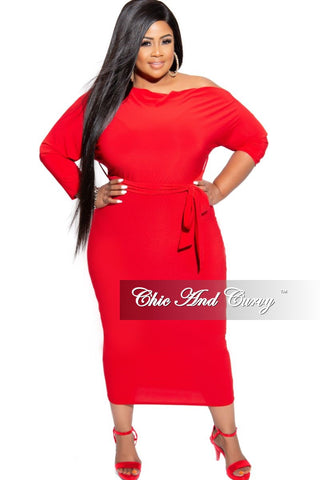 Final Sale Plus Size Fringe Shoulder Gown in Red
