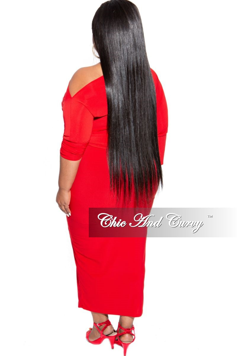Final Sale Plus Size Off the Shoulder Midi Dress with Tie in Red