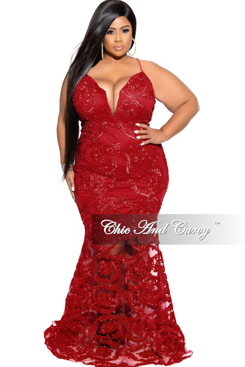 Final Sale Plus Size Gown with Deep V and Mermaid Bottom in Burgundy