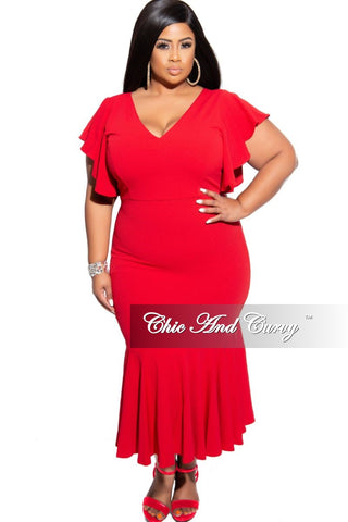 Final Sale Plus Size Mesh Panel Gown with Front Slit and Ruffle Shoulder in Red
