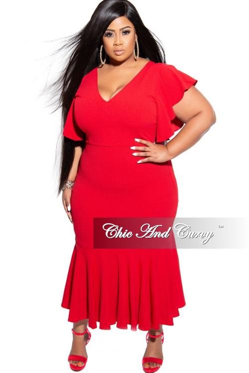 Final Sale Plus Size Flutter Sleeve Ruffle Bottom BodyCon Dress in Red