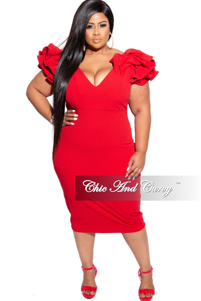 Final Sale Plus Size Ruffle Sleeve Off the Shoulder BodyCon Dress in Red