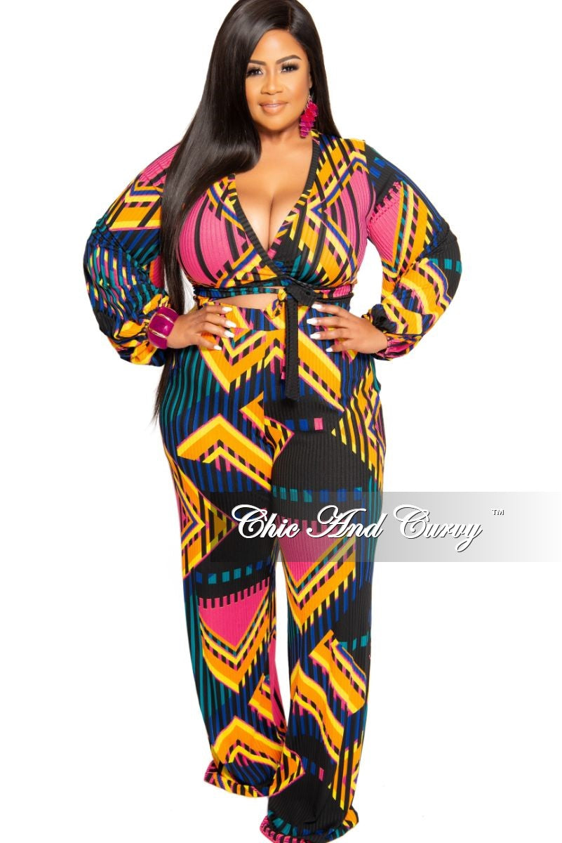 New Plus Size Ribbed 2-Piece Faux Wrap Crop Tie Top and High Waist Pants in Multi Color Stripe Design Print