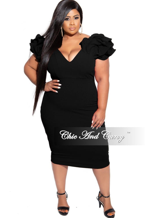 Final Sale Plus Size Off the Shoulder Ruffle Sleeve BodyCon Dress in Black