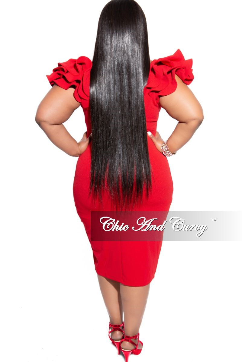 New Plus Size Ruffle Sleeve Off the Shoulder BodyCon Dress in Red