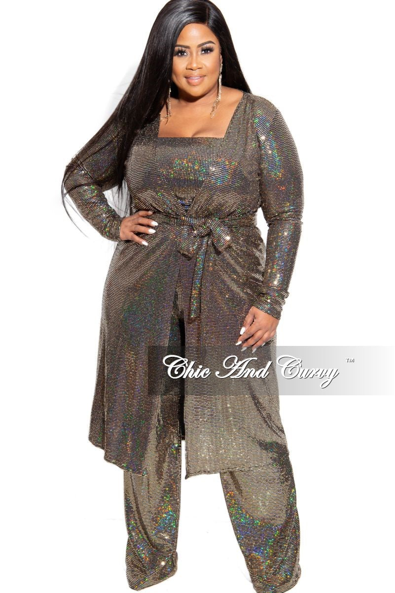 Final Sale Plus Size Faux Sequin Hologram 3-Piece Duster, Crop Top and High Waist Pants Set in Gold