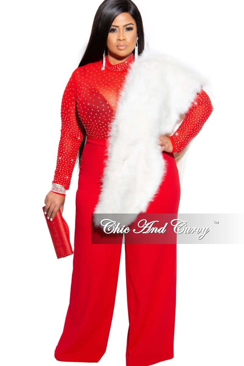 Final Sale Plus Size Pants with High-Waist and Wide Legs in Red