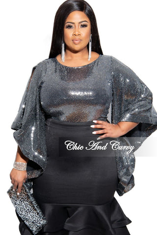 (Pre-Order) Final Sale Plus Size Ruffle Bottom Glitter Maxi Dress in Royal Blue