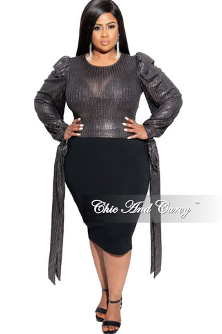 Final Sale Plus Size Mesh Polka Dot Ruched BodyCon Dress in Black