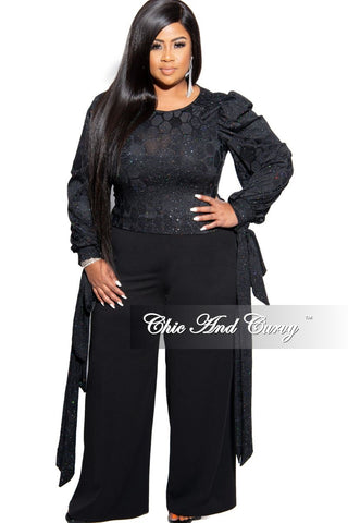 Final Sale Plus Size Ribbed Exaggerated Peasant Sleeve Tie Top in Silver Foil