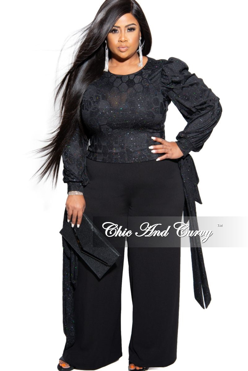 Final Sale Plus Size Pants with High-Waist and Wide Legs in Black