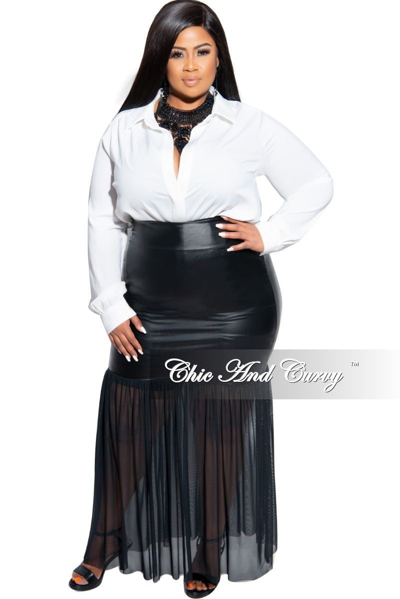 Final Sale Plus Size Faux Leather Maxi Skirt with Sheer Bottom in Black
