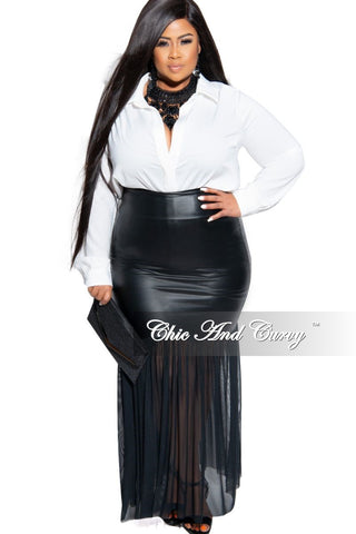 Final Sale Plus Size Patent-Leather Pencil Skirt with Gold Back Zipper and Bottom Slit in Royal Blue