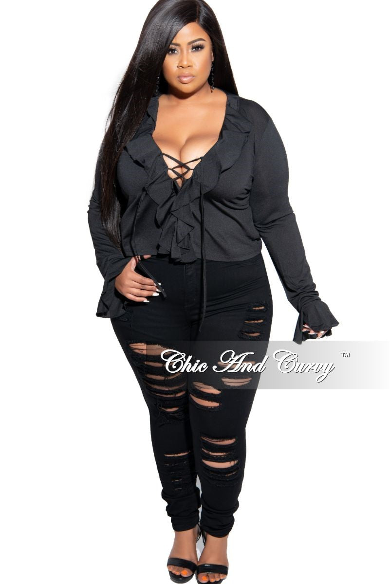 Final Sale Plus Size Distressed Jeans in Black