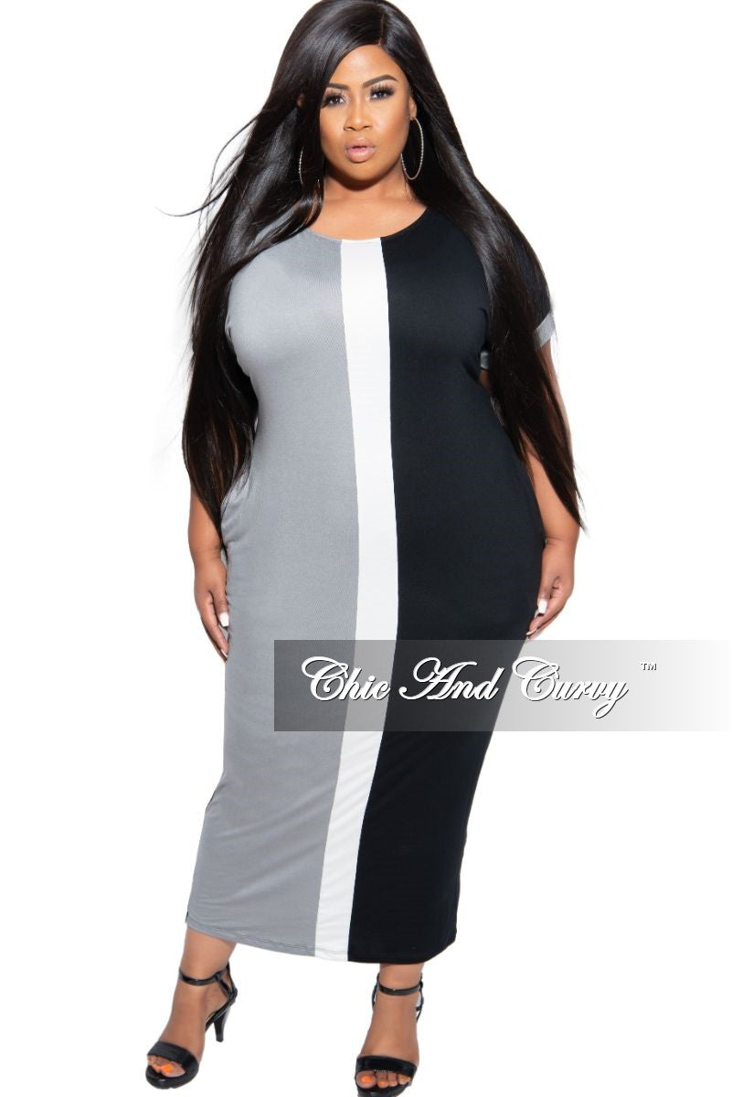 New Plus Size Color Block Pocket Maxi in Grey White and Black