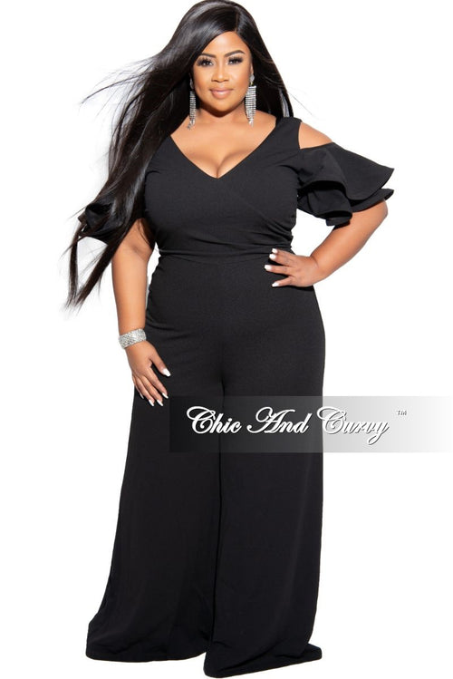 Final Sale Plus Size Faux Wrap Cold Shoulder Ruffle Sleeve Jumpsuit in Black