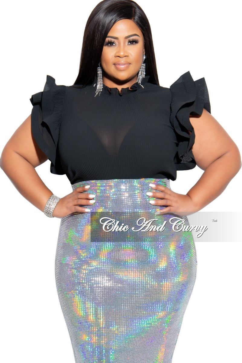 Final Sale Plus Size Ribbed Chiffon Ruffle Top in Black