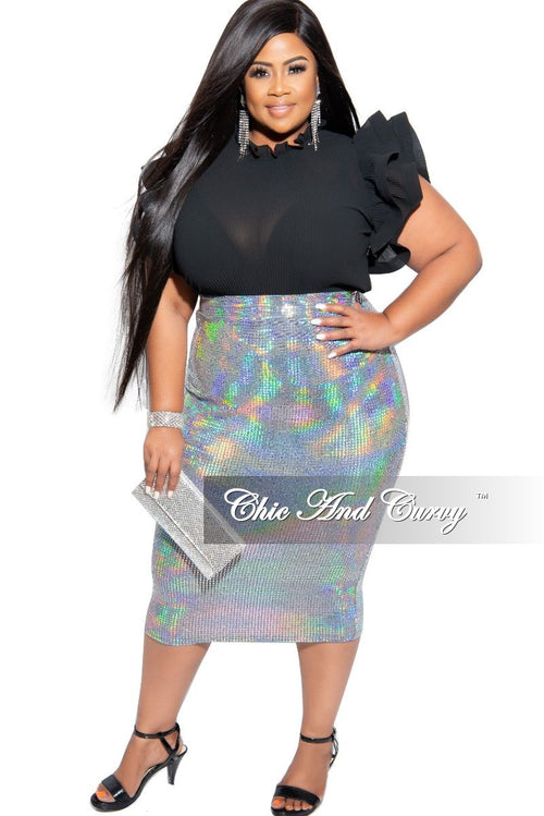 Final Sale Plus Size Hologram Sparkle Midi Skirt in Silver