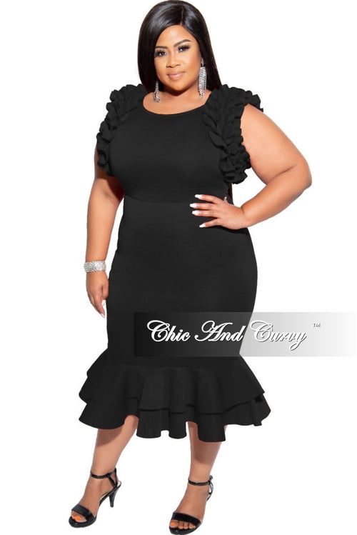Final Sale Plus Size Sleeveless Ruffle Scuba BodyCon Dress in Black