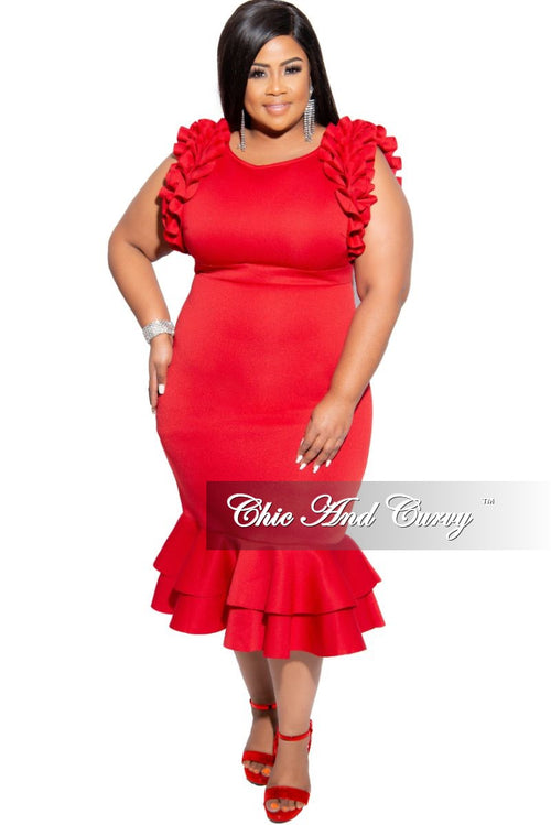 Final Sale Plus Size Sleeveless Ruffle Scuba BodyCon Dress in Red