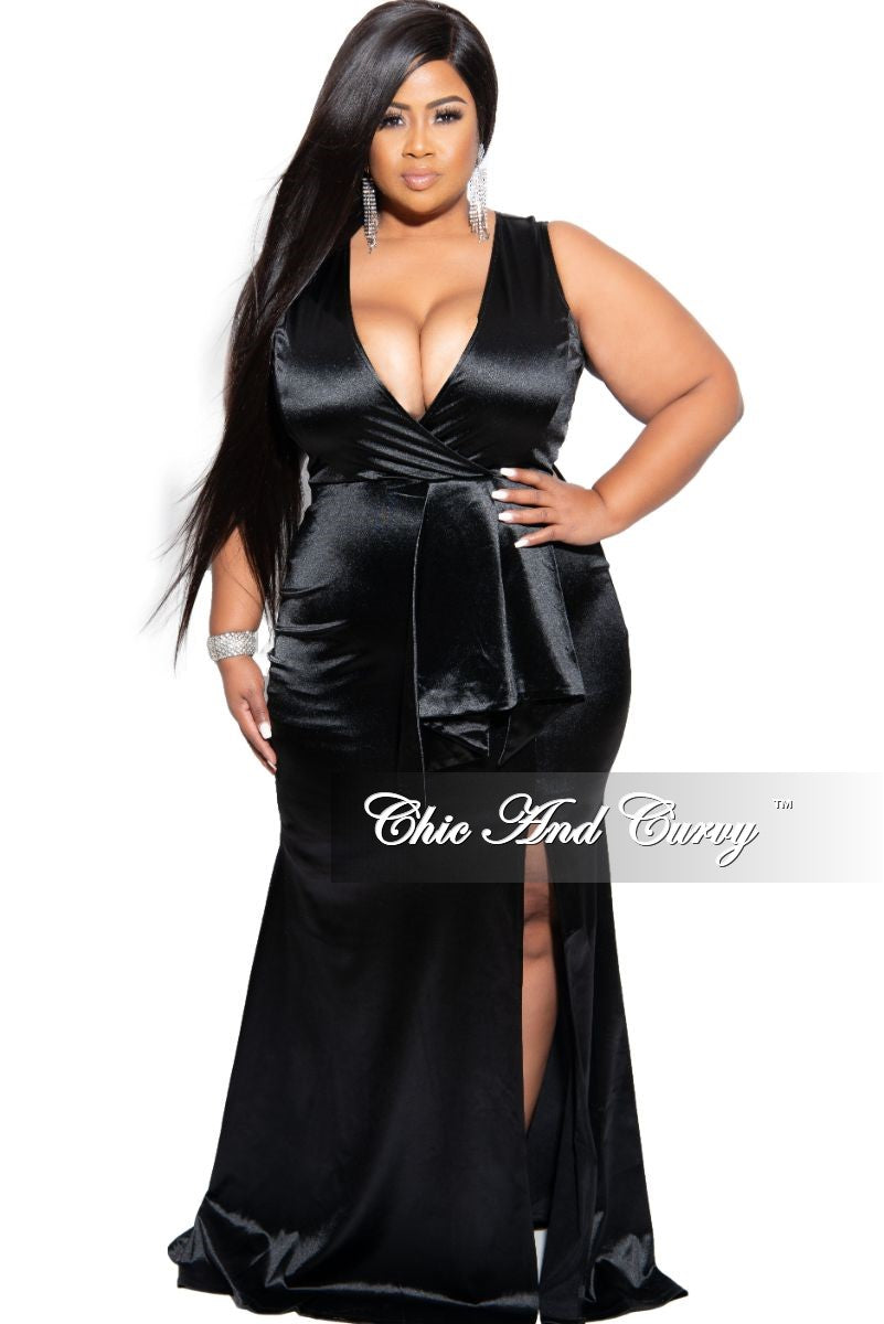 Final Sale Plus Size Faux Wrap Sleeves Gown with Front Peplum and Slit in Black