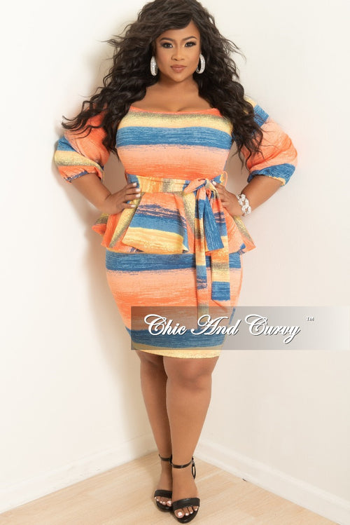 d16fd73130cb5a New Plus Size Off the Shoulder Peplum BodyCon Dress with Attached Tie in  Coral Blue and