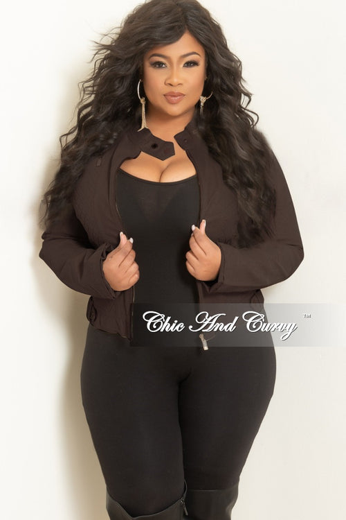 Final Sale Plus Size Faux Leather Motorcycle Jacket in Brown