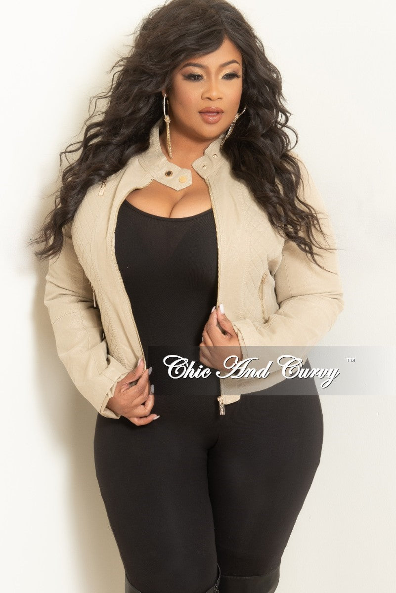 fbc4d58969 Final Sale Plus Size Faux Leather Motorcycle Jacket in Khaki – Chic And  Curvy