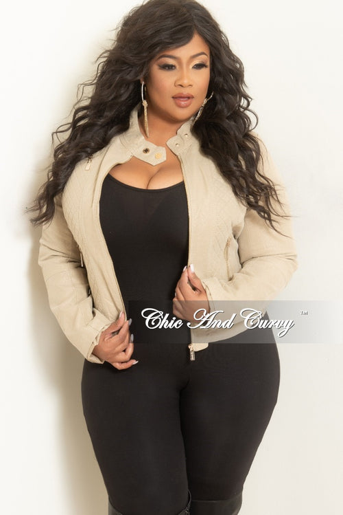 Final Sale Plus Size Faux Leather Motorcycle Jacket in Khaki