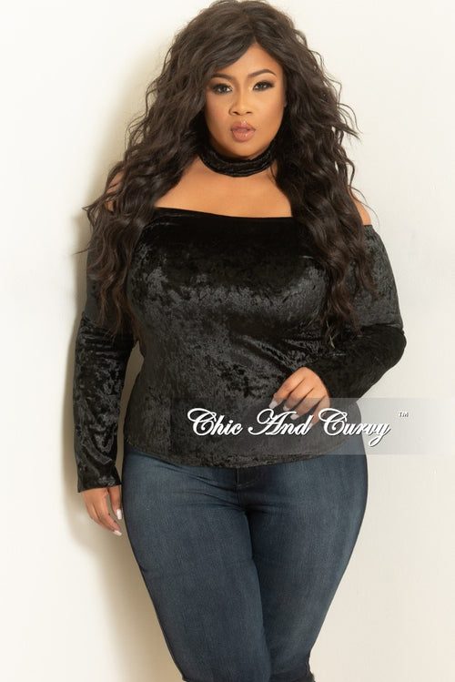 3abf9367687 Final Sale Plus Size Velvet Off the Shoulder Choker Top in Black