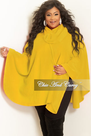 55eb23c936 Final Sale Plus Size Poncho with Inside Neck Button in Yellow Fleece.    48.00. New Plus Size Faux Leather Motorcycle Jacket in Black