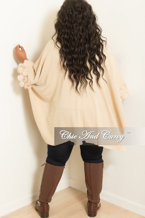 Final Sale Plus Size Poncho with Faux Fur Trim in Tan