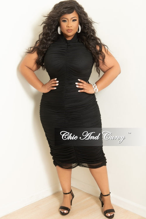 Final Sale Plus Size Sleeveless BodyCon Sheer Ruched Dress with Back Zipper and Bottom Slit in Black