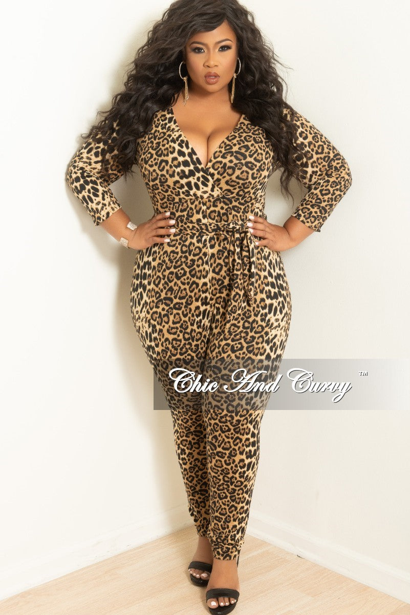 Final Sale Plus Size Long Sleeve Faux Wrap Jumpsuit With Attached