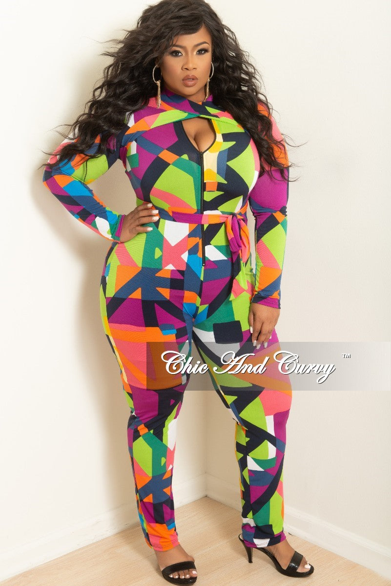 New Plus Size Zip-Up Jumpsuit with Neck Tie in Purple Green and Pink Multi Color