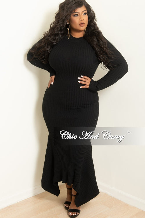Final Sale Plus Size Long Ribbed Knit Dress with High-Low Bottom in Black