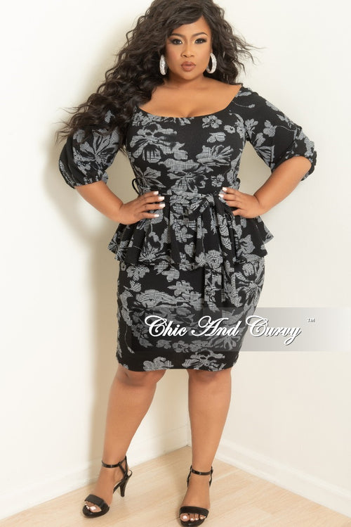 Final Sale Plus Size Off the Shoulder Peplum BodyCon Dress with Attached Tie in Black and White Print