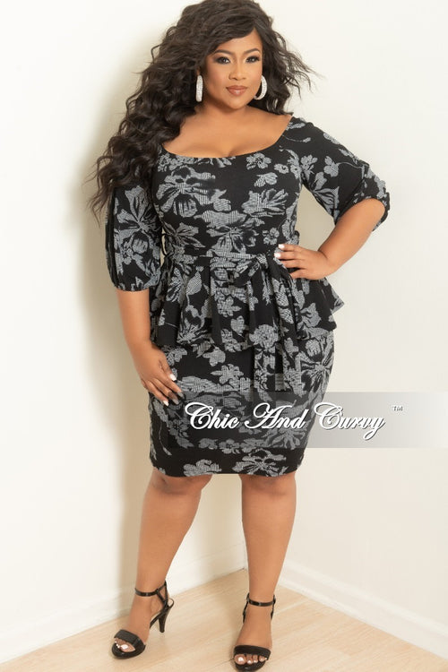 New Plus Size Off the Shoulder Peplum BodyCon Dress with Attached Tie in Black and White Print