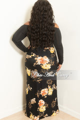 New Plus Size Long Skirt in Black Floral