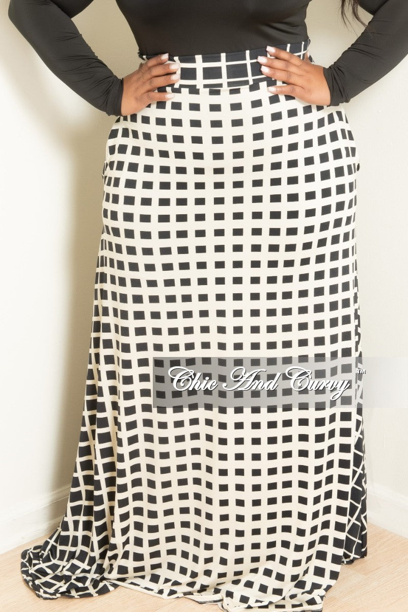 d4a54284a5a Final Sale Plus Size Long Skirt in Ivory and Black Checker Print ...